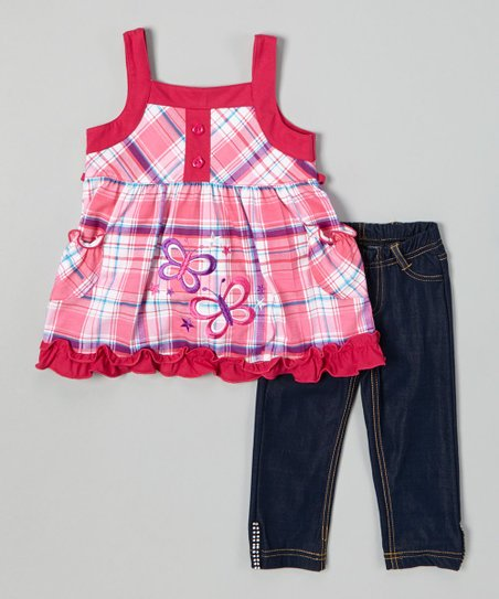 Fuchsia Butterfly Plaid Top & Jeggings - Toddler & Girls