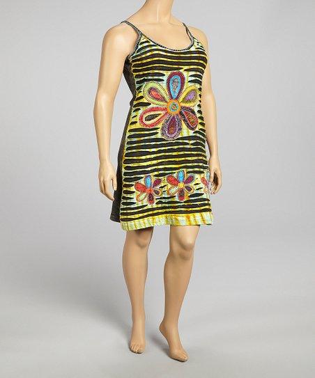 Yellow & Green Flower Dress - Women & Plus
