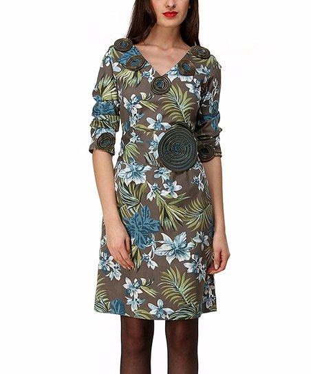 Green & Brown Escarlata Flowers Dress