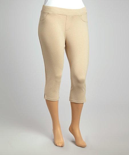 Khaki Classic Cropped Leggings - Plus