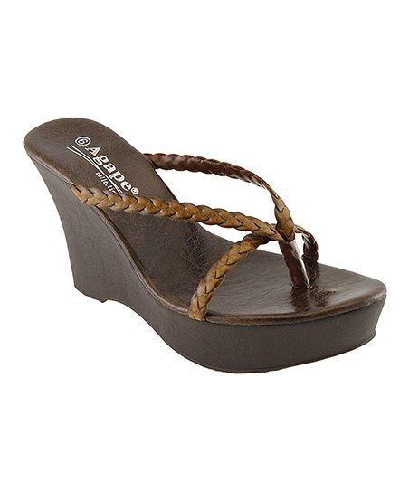 Brown Tiara Wedge Sandal