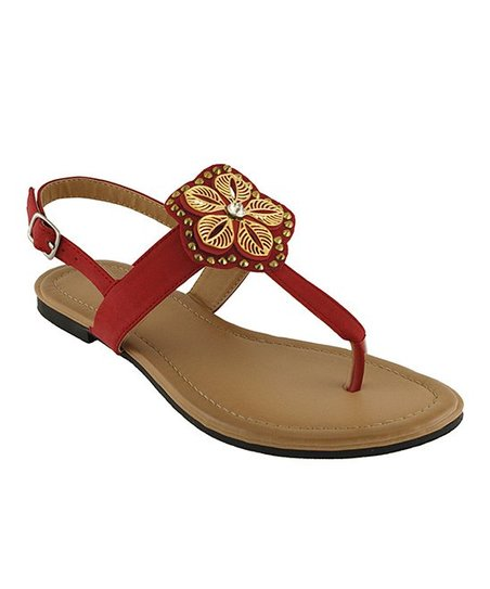 Red Peggy Floral Sandal