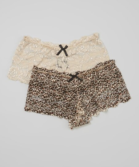 Brown & Nude Leopard Lace Boyshort Set - Women