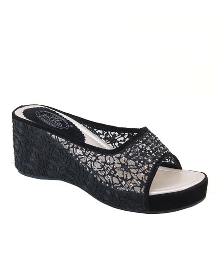Black Rhinestone Crocheted Sandal
