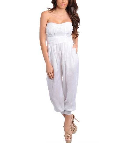 White Sweetheart Strapless Jumpsuit
