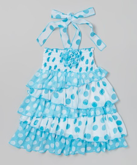 Blue & White Polka Dot Ruffle Dress - Toddler & Girls