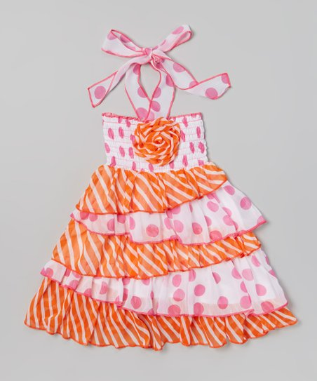 Orange Stripe Ruffle Dress - Toddler & Girls