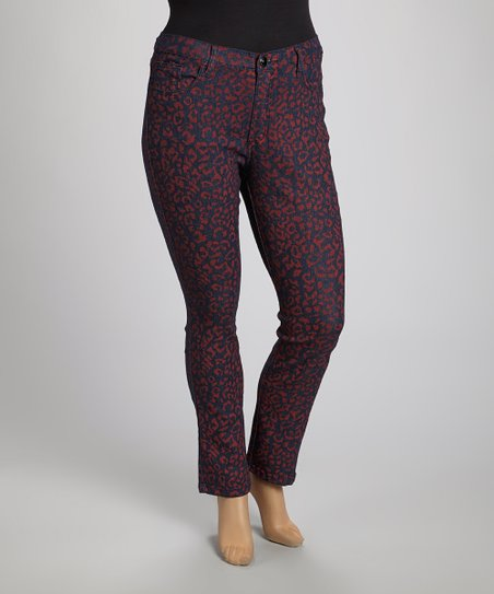 Red Leopard Skinny Jeans - Plus