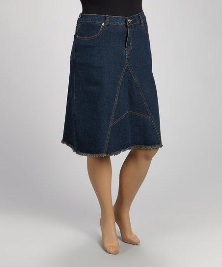 Vintage Blue Denim Skirt - Plus