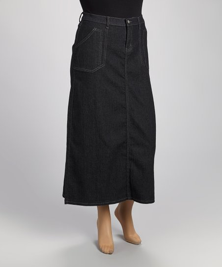 Black Denim Maxi Skirt - Plus