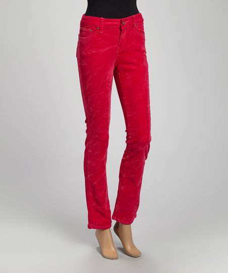 Hot Pink Corduroy Straight-Leg Pants - Women