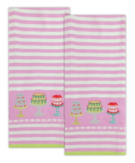 Cakes Embroidered Dish Towel – Set of Two