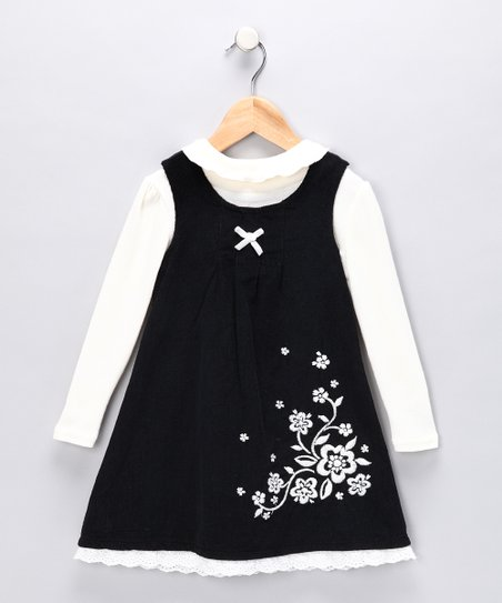 White Turtleneck & Black Floral Jumper - Toddler