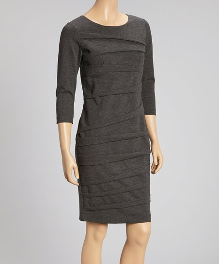 Gray Pleated Ponte Sheath Dress