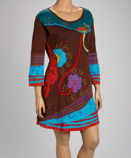 Brown Embellished Flower Dress - Plus