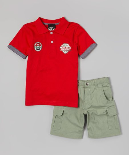Red 'Road Race Training' Polo & Olive Shorts - Toddler