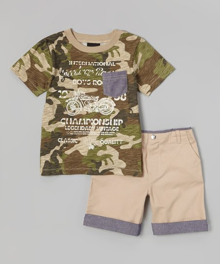 Brown Camo Motorcycle Tee & Khaki Shorts - Infant & Toddler