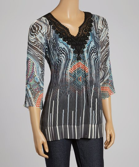 Gray Jewels of the Heart V-Neck Top