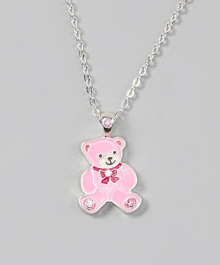 Pink Teddy Bear Pendant Necklace