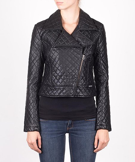 Black Quilted Moto Jacket - Women