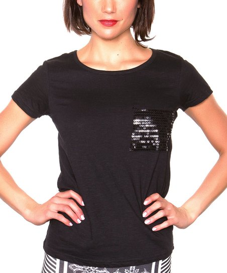 Black Sequin Pocket Tee