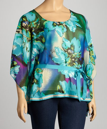 Blue Floral Cape-Sleeve Top - Plus