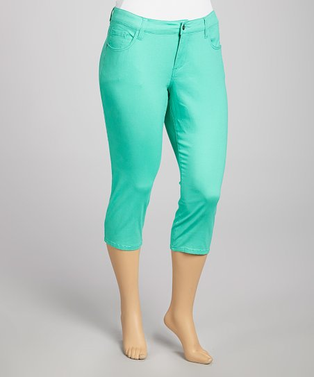 Aqua Mint Twill Capri Pants - Plus