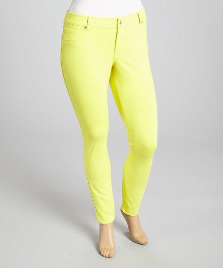 Yellow Ponte Jeggings – Plus