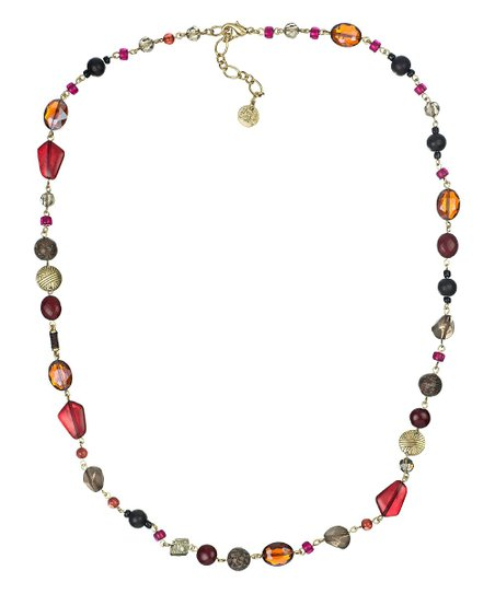 Gold & Burgundy Shine Beaded Necklace