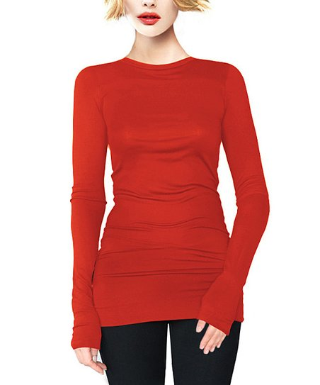 Red Crewneck Tunic