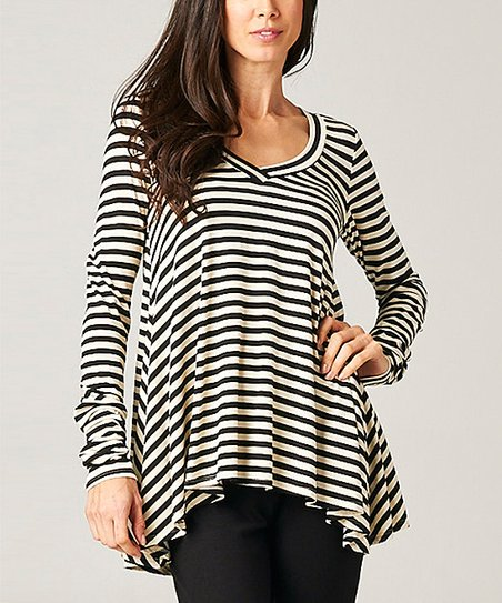 Black & Mocha Stripe Swing Top