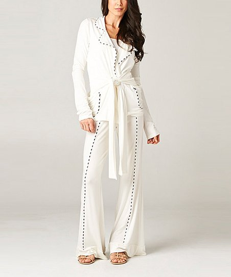 Ivory Tie Cardigan & Lounge Pants