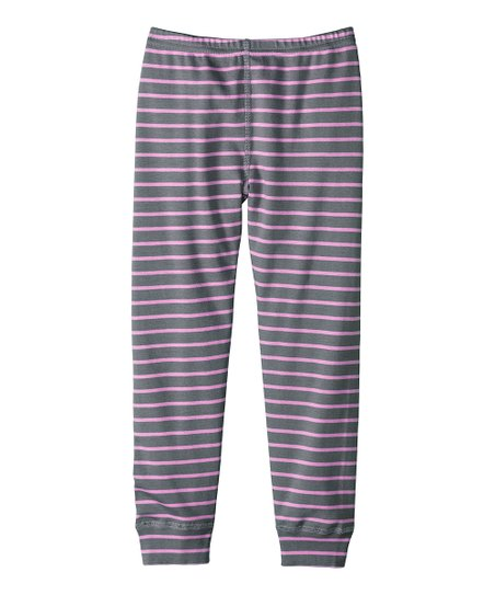 Cobblestone & Orchid Stripe Leggings - Infant, Toddler & Girls