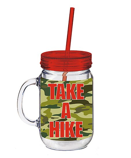 Camo 'Take a Hike' Insulated Mason Jar Cup & Straw