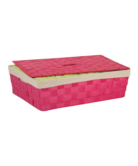 Pink Woven Under-Bed Basket