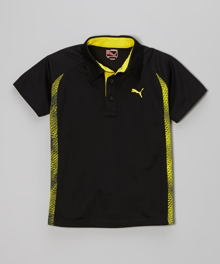 Black & Yellow Mesh Polo - Toddler & Boys