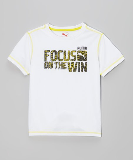 White 'Focus on the Win' Tee - Boys