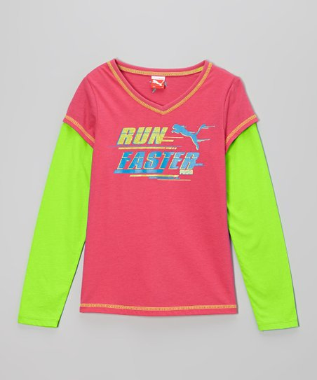 Fuchsia 'Run Faster' Slider Layered Tee - Toddler & Girls