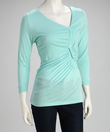 Aqua Mist Three-Quarter Sleeve Top