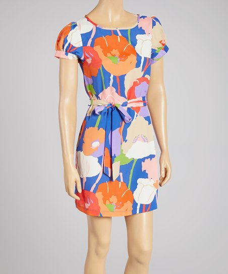 Blue & Orange Floral Waist-Tie Shift Dress