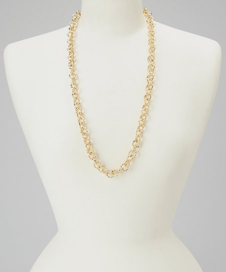 Gold Long Twisted Rings Necklace