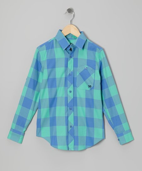 Blue & Green Signature Plaid Button-Up - Toddler & Boys