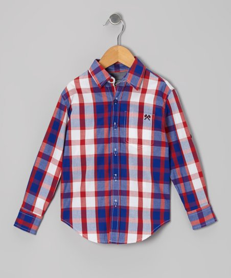 Red & Purple Signature Plaid Button-Up - Toddler & Boys