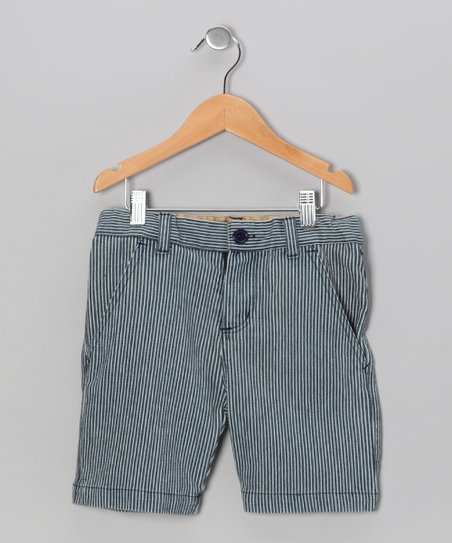 Blue & White Railroad Stripe Shorts - Boys