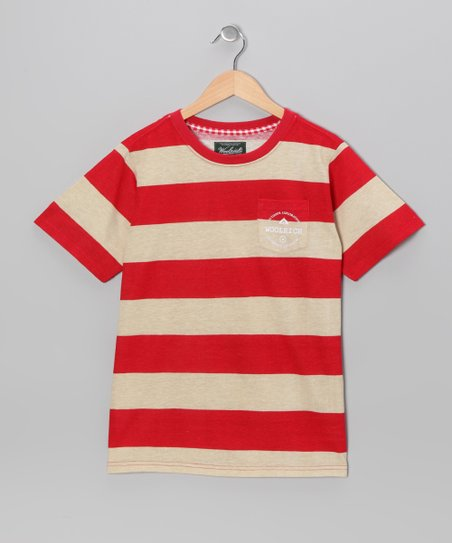 Red Stripe Pocket Tee - Boys