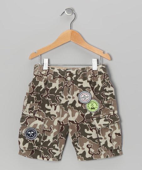Green Camouflage Shorts - Boys