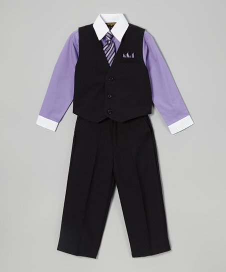 Black & Violet Solid Four-Piece Vest Set - Infant, Toddler & Boys