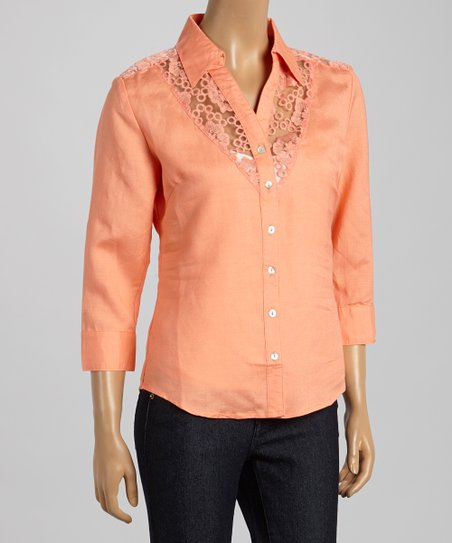 Georgia Peach Lace Button-Up - Women & Plus