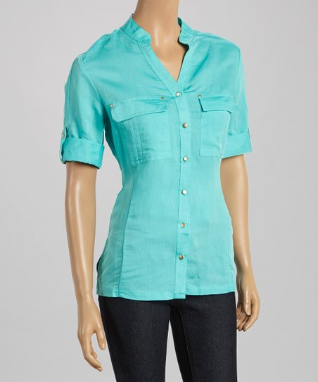 Aqua Bay Studded Button-Up - Women & Plus