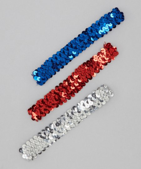 Silver, Red & Blue Sequin Headband Set